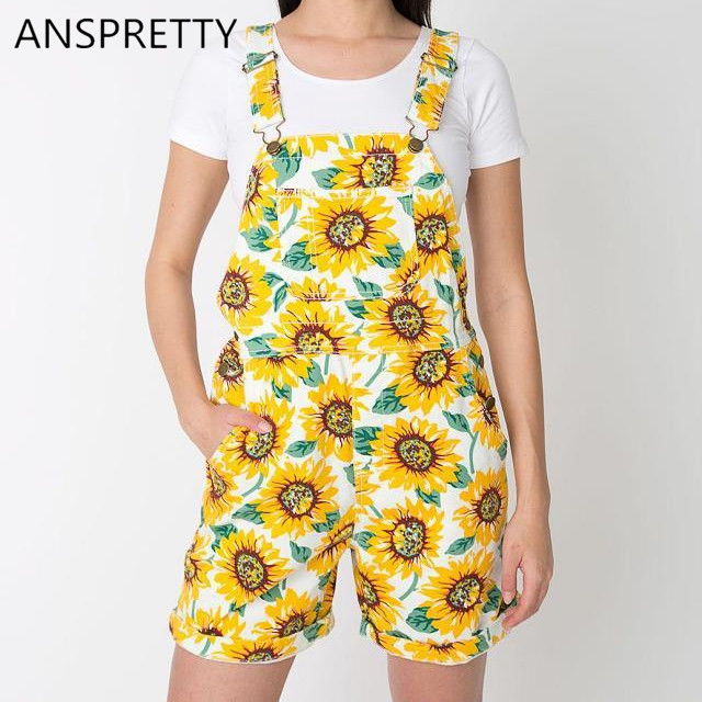 Anspretty Apparel Women floral denim overalls shorts adjustable straps sunflowers casual high waist jeans shorts with