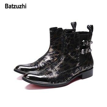 Batzuzhi Brand Western Men Boots Pointed Metal Tip Cowboy Motorcycle Boots Men Winter Handsome Party Botas Men zapatos de hombre