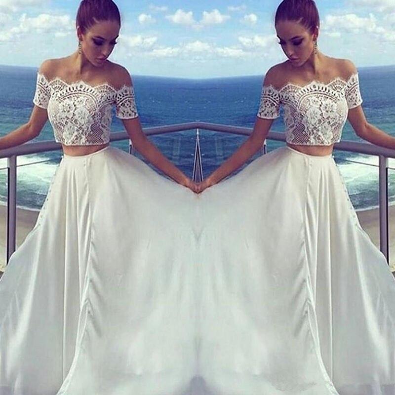 Nouveau Simple robe de bal blanc élégant Satin deux pièces robes de soirée en dentelle manches courtes épaule dénudée robe de soirée