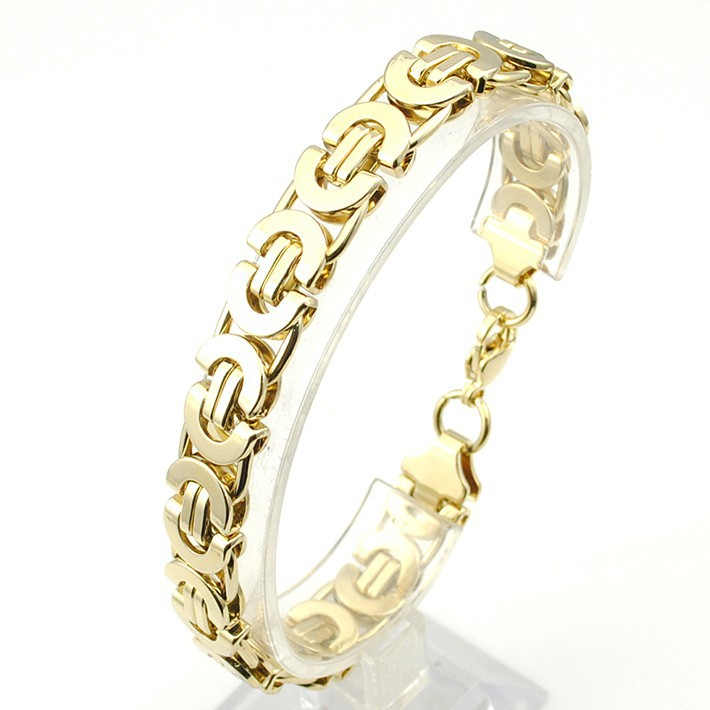 6/8/11mm Friendship Gold Color Flat Byzantine Stainless Steel - Fashion Jewelry - Photo 3