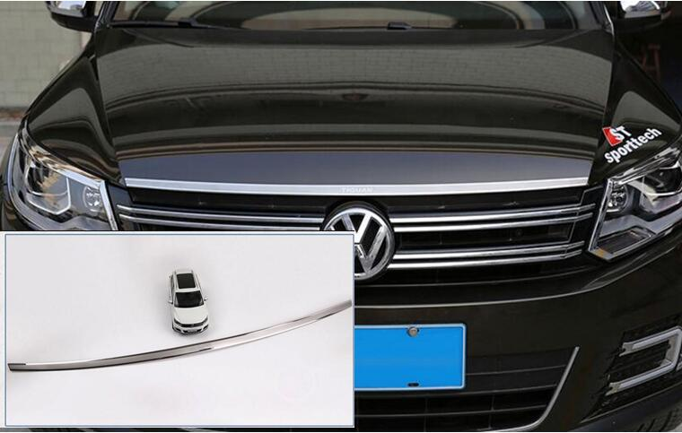 Stainless Steel Front Bonnet Machine Cover Molding Trim 1 pcs Fit For VW Volkswagen tiguan 2010 2011 2012 2013 2014 2015 2016 fit for volkswagen vw tiguan rear trunk scuff plate stainless steel 2010 2011 2012 2013 tiguan car styling auto accessories