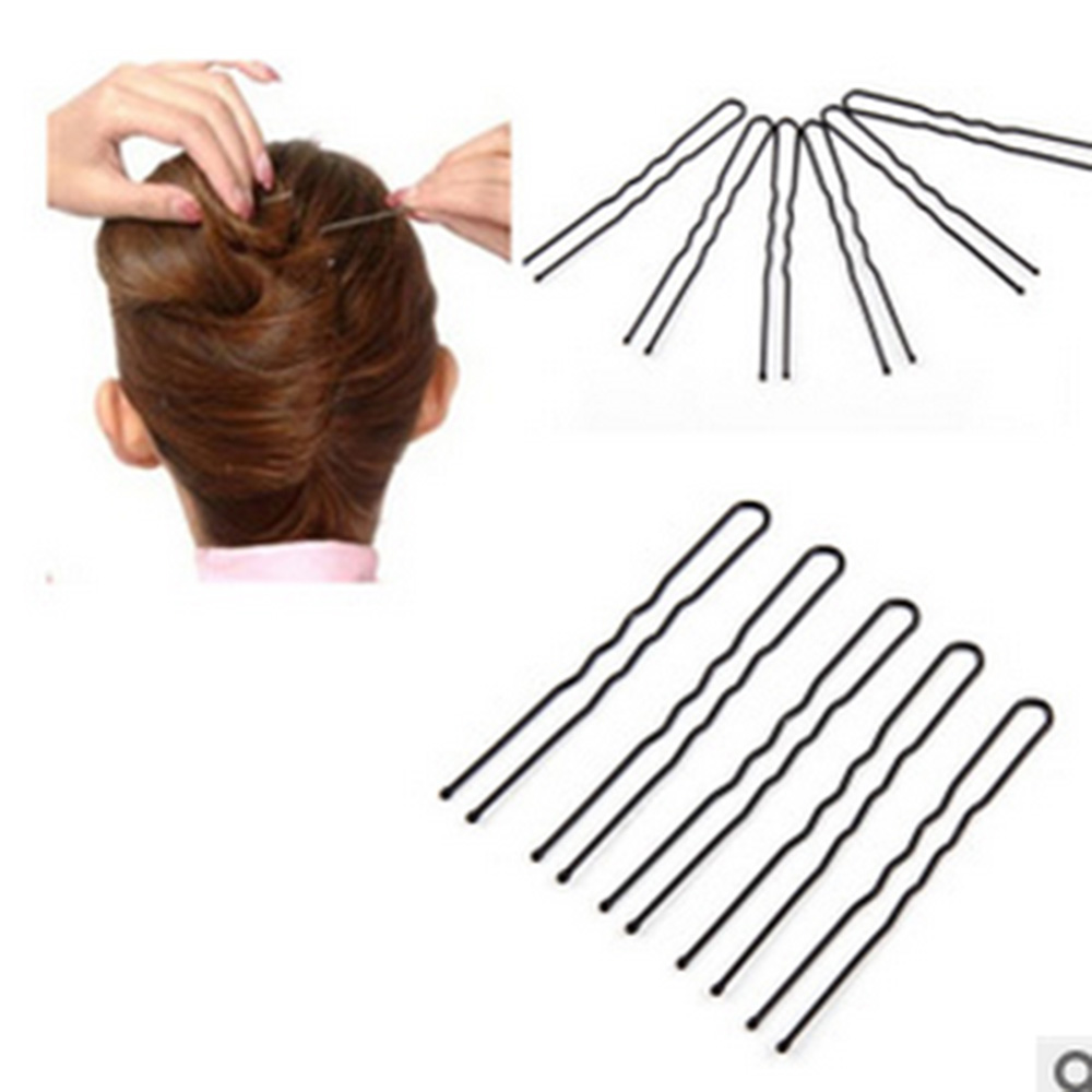 50pcs 6CM Hair Waved U-shaped Bobby Pin Barrette Salon Grip Clip Hairpins Bun Maker Hair Accessories Black Dropshiping