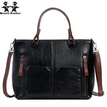 wenjie brother hot sale oil wax PU Vintage Women Shoulder Bag Female Causal Tote for Shopping and work High Quality lady Handbag grande bolsas femininas de couro