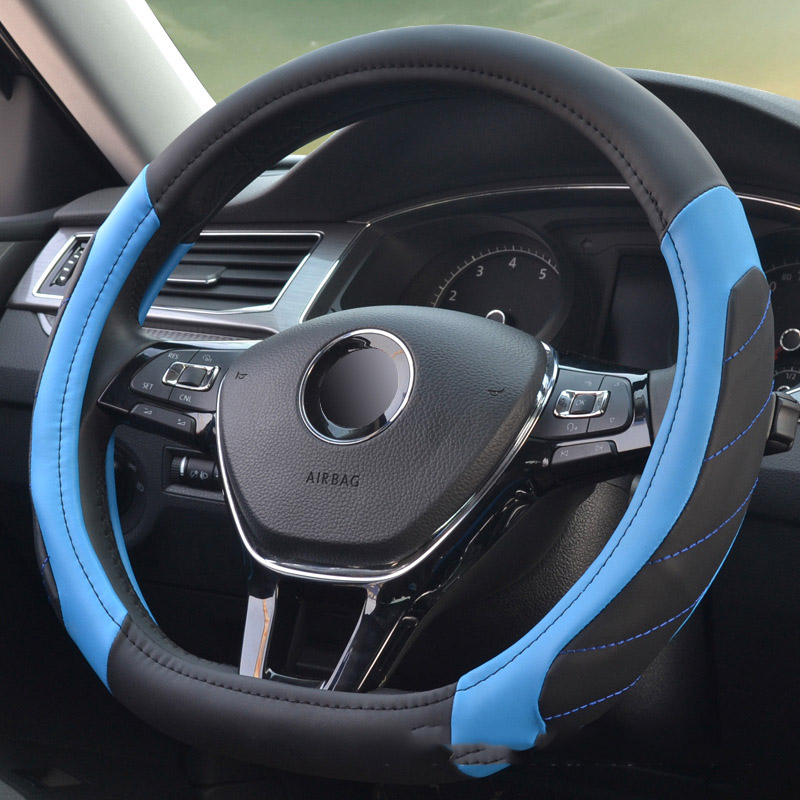 D shape is special Car Steering-wheel Cover Superfine leather Universal Car-styling Sport Auto Steering Wheel Covers Anti-Slip