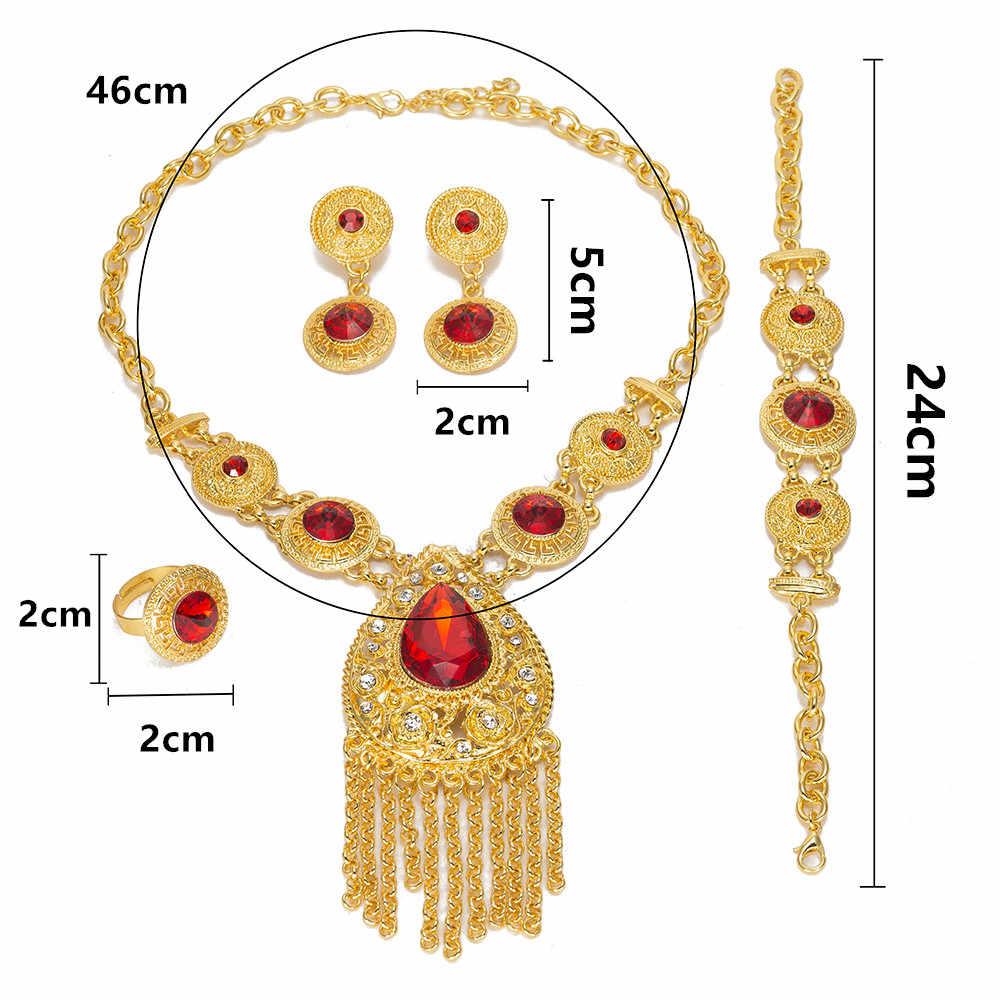 MUKUN комплекты украшений для женщин модные африканские бусы Свадебные винтажные Дубаи золотистого цвета, Свадебный турецкий костюм, ювелирные изделия