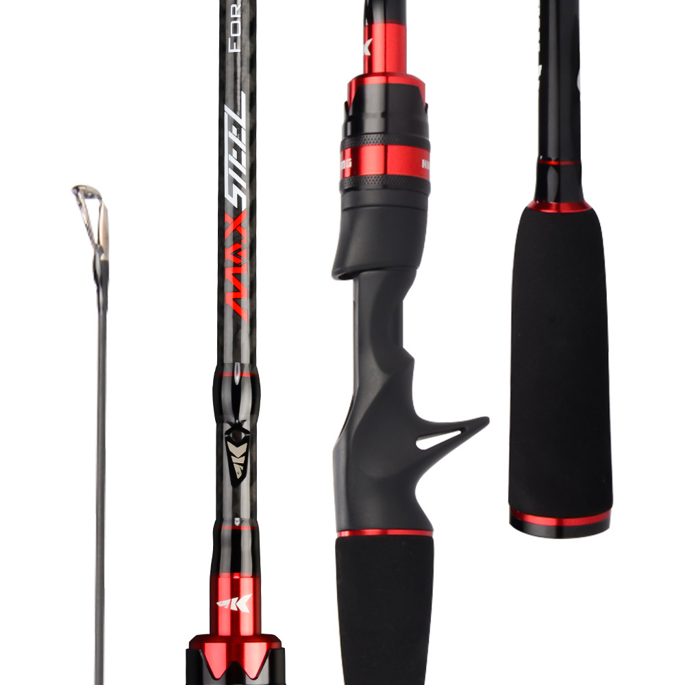 KastKing Max Steel Fishing Rod with 24 Ton Carbon Fiber in Four Angles including Gray Red and Silver Cosmetics