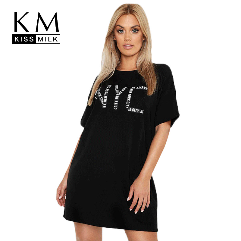 Kissmilk Plus Size Women Clothes Simple And Loose Version NYC Letter Print Short-sleeve Round Neck Long T-shirt
