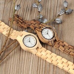 Image 3 - בובו ציפור שעון נשים במבוק זברה עץ אבני חן לחקות יוקרה מותג קוורץ שעונים בעץ תיבת XFCS relogio feminino W O29
