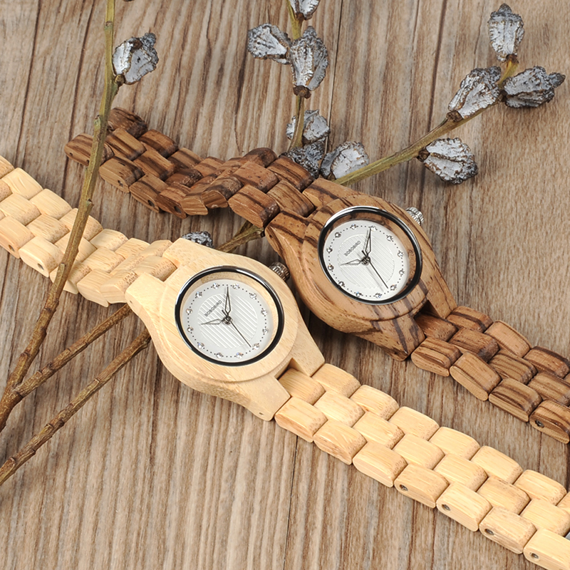 Image 3 - BOBO BIRD Watch Women Bamboo Zebra Wooden Gems Imitate Luxury Brand Quartz Watches in Wood Box XFCS relogio feminino W O29watch forwatch for womenwatches quartz watche -