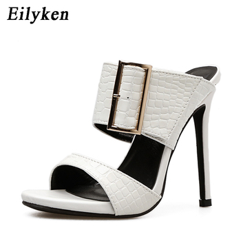 41b1c7524 Zapatillas de verano de mujer de moda Eilyken sexi con hebilla tacones  delgados sandalias deslizantes tamaño 35-40