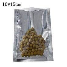 500Pcs 10*15cm Clear Front Aluminum Foil Plastic Bag Open Top Food Vacuum Package Bulk Storage Mylar Bags