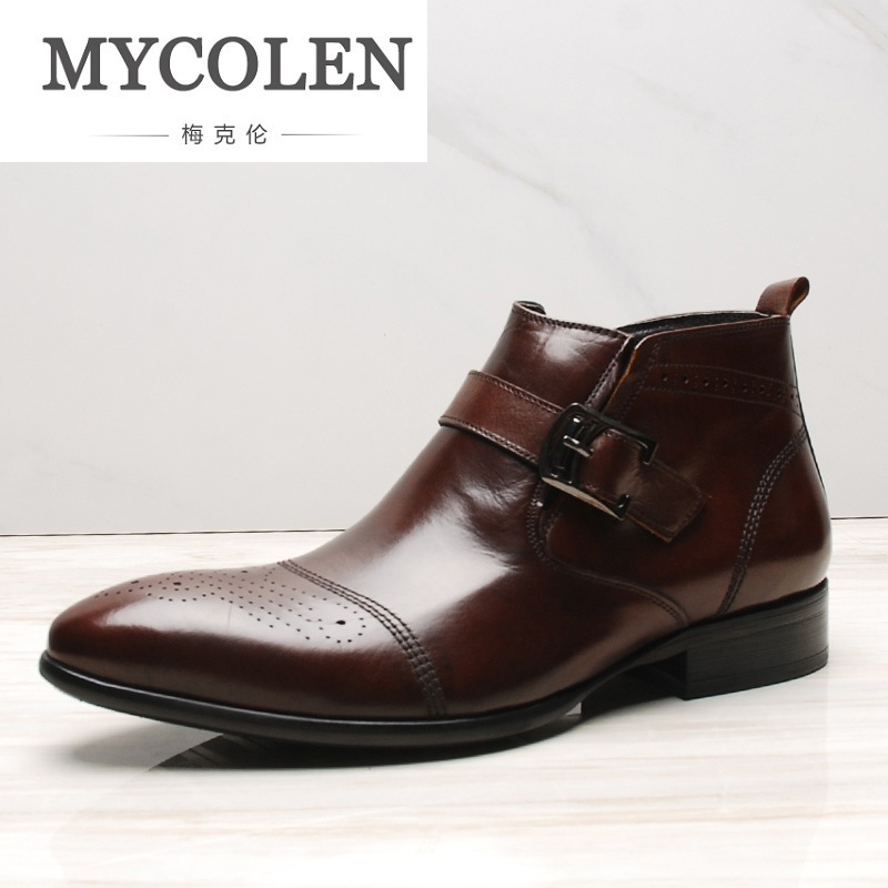 MYCOLEN Vintage Brand Men Leather Boots British Style Autumn Male Genuine Leather Chelsea Boots Buckle Scarpe Uomo Invernali mycolen brand chelsea men boots genuine leather handsome retro boots men high top business leather shoes scarpe uomo di marca