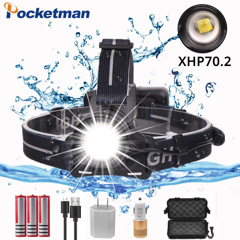 50000ml xhp70 2.0 headlamp Zoom Head Lamp Flashlight Torch Lantern Head Light use 3*18650 Battery with box and USB cable50000ml xhp70 2.0 headlamp Zoom Head Lamp Flashlight Torch Lantern Head Light use 3*18650 Battery with box and USB cable