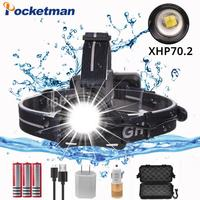 Super Bright xhp70 2.0 headlamp Zoom Head Lamp Flashlight Torch Lantern Head Light use 3*18650 Battery with box and USB cable