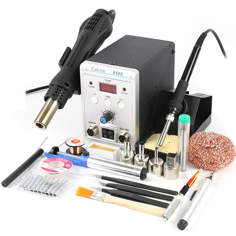 EAKINS 8586 BGA SMD Rework Station 750W 2 In 1 digital ESD Hot Air Gun Soldering Station For Welding Repair tools kit 8586 2 in 1 esd soldering station smd rework soldering station hot air gun set kit welding repair tools solder iron 220v 110v