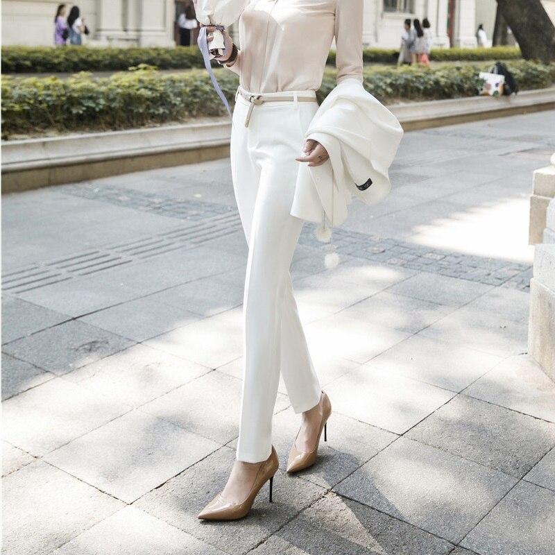 2019 Spring Summer Elegant White Trendy Skinny Leggings   Pants   Female Trousers   Capris   Pencil   Pants   OL Styles Office Work Wear