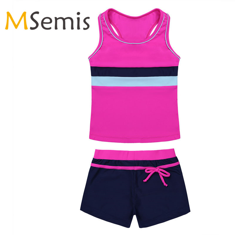 Kids Girls Tankini Swimsuit Two Pieces Swimwear Set Tops With Swim Shorts Bottom Bathing Suit Gymnastic Children's Swimming Suit