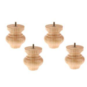 Image 2 - 4Pcs Schwarz/Holz Stuhl Fuß Bänke Holz Bett Sofa Boden und möbel schutz Runde holz konische holz Möbel beine
