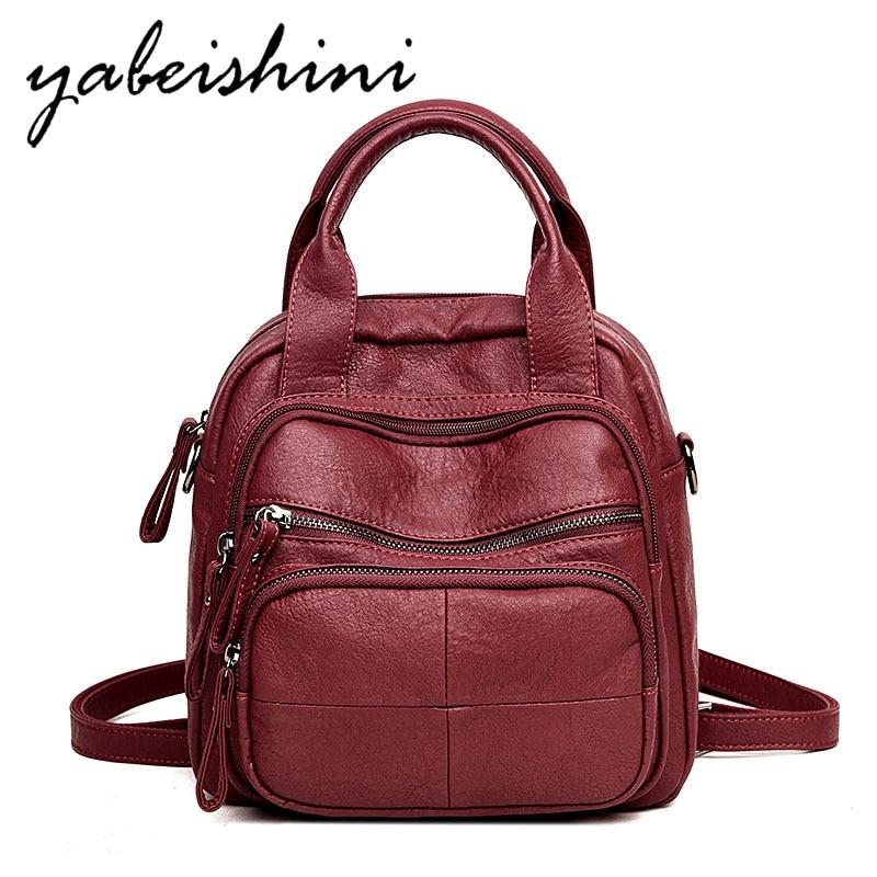 2019ladies Travel Backpack Mochilas Ladies Leather Backpack Retro Ladies Shoulder Bag Sac A Dos Portable Student Bag Girl Preppy