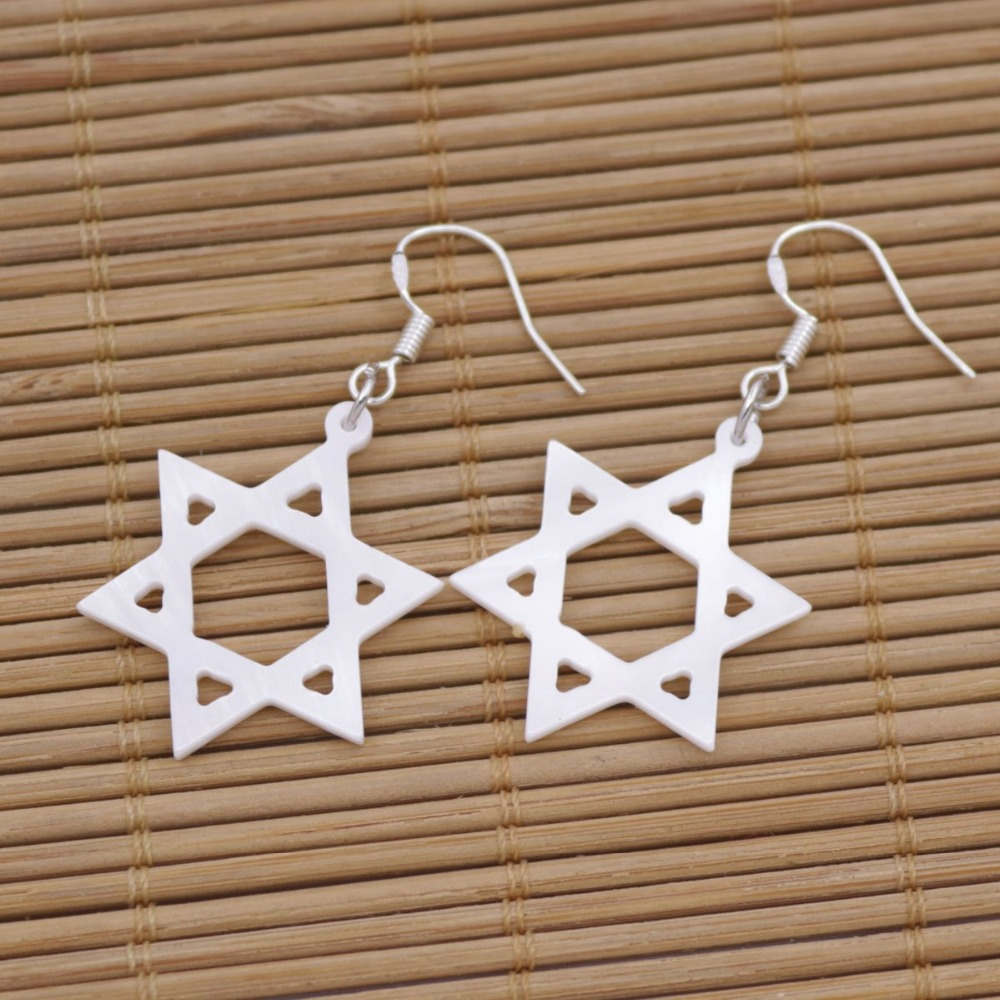 Купить с кэшбэком Hexagon Star Shell Earring Natural White Mother of Pearl Jewelry 25mm