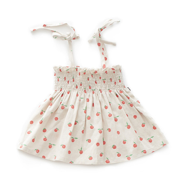 Brand Kids Summer Dresses Toddler Girls Cherry Dress Baby Cute Summer Sling Dresses Brand Style Girls Twril Dress