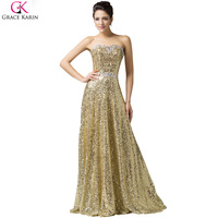 Real Photo Grace Karin Luxury Sequin Gold Evening Dresses Long 2016 New Long Gold Prom Dress