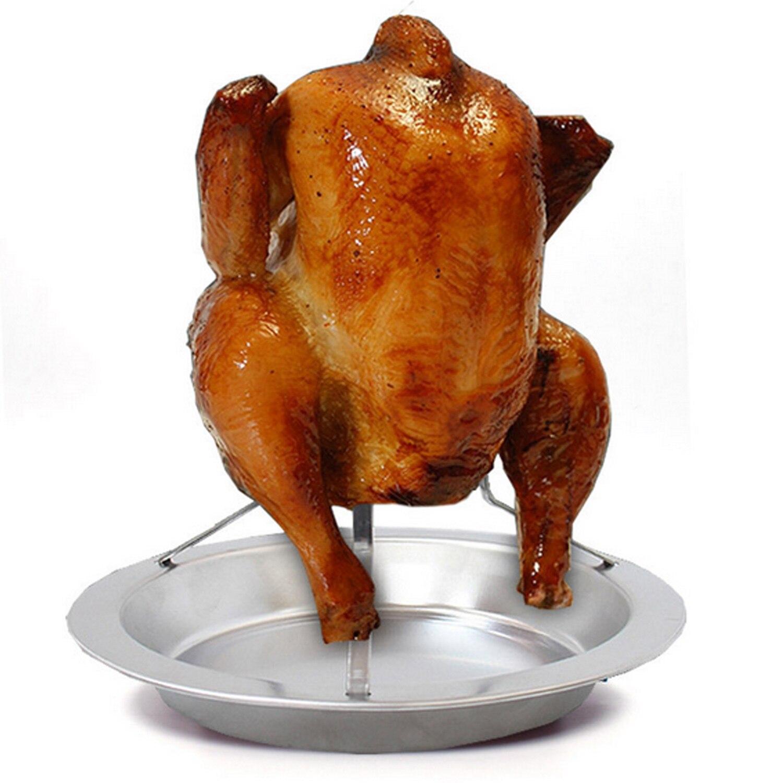 Behogar складной, из нержавеющей стали курица утка гусь вертикальная подставка для запекания с поддон для стекания жидкостей для барбекю оборудование для барбекю аксессуары