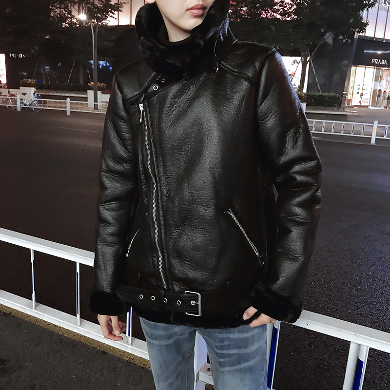 2019 теплое зимнее меховое пальто Авиатор искусственная кожа куртка мужская