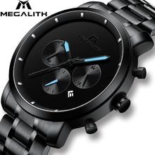 MEGALITH אופנה ספורט הכרונוגרף גברים למעלה מותג יוקרה שעונים גברים עמיד למים קוורץ שעונים שעון Relogio Masculino