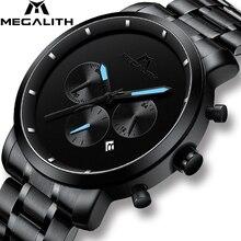 Reloj cronógrafo deportivo MEGALITH a la moda para hombre, relojes de lujo de la mejor marca, relojes de cuarzo impermeables para hombre, reloj Masculino