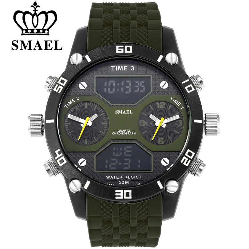 SMAEL Men Sports Watches Waterproof Military Quartz Digital Watch Alarm Stopwatch Dual Time Zones Brand New relogios masculino