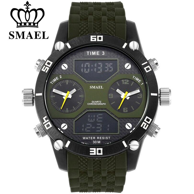 SMAEL Hommes Sport Montres Étanche Militaire Quartz Montre Numérique Alarme Chronomètre Dual Time Zones Marque Nouveau relogios masculino