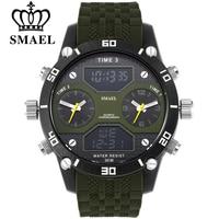SMAEL Men Sports Watches Waterproof Military Quartz Digital Watch Alarm Stopwatch Dual Time Zones Brand New