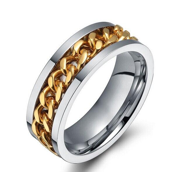 rotating chain wedding bridal silver gold rings 316l titanium steel elvish ring wedding 8mm fashion jewelry - Elvish Wedding Rings