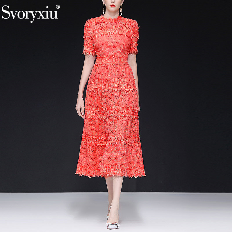Svoryxiu Designer Brand Summer Party Dress Women s Elegant Sexy Hollow Out Embroidery Lace luxury Long