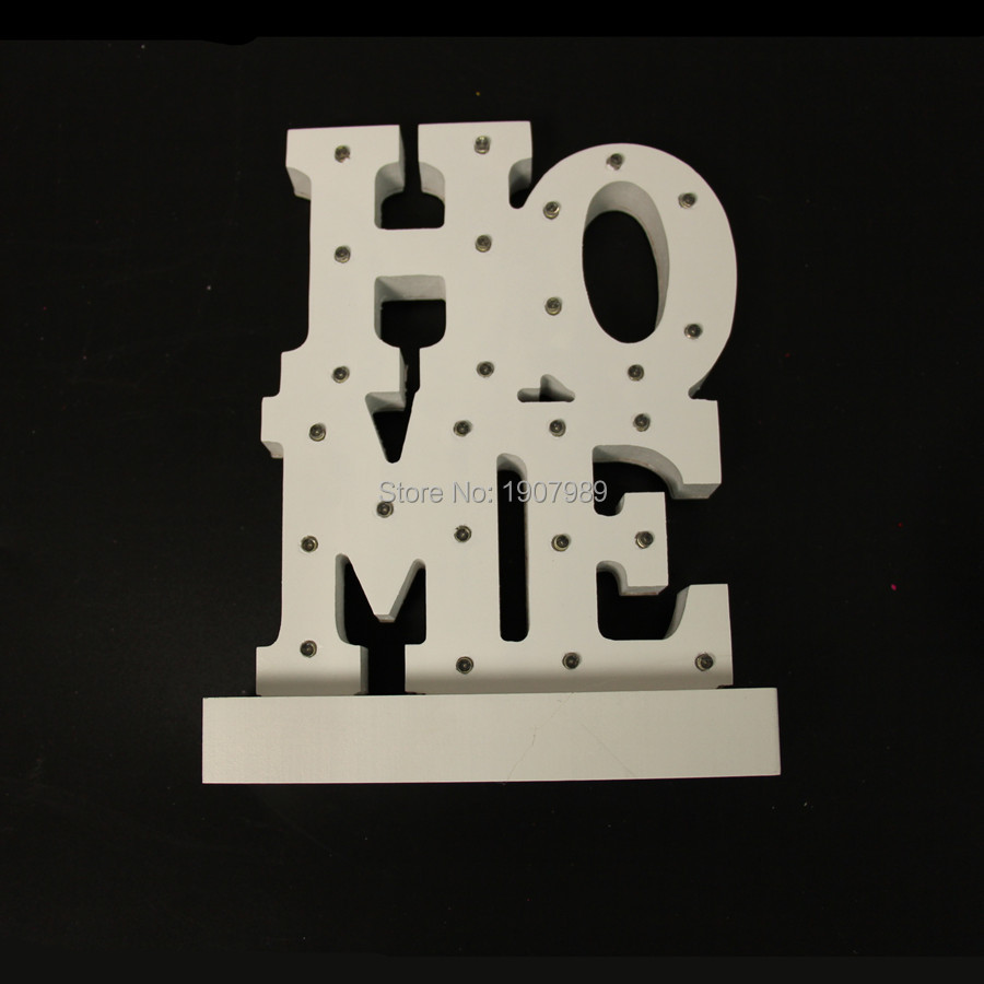 цена  White wooden HOME Letters light LED Marquee Sign LIGHT UP night light Indoor table Deration free shipping  онлайн в 2017 году