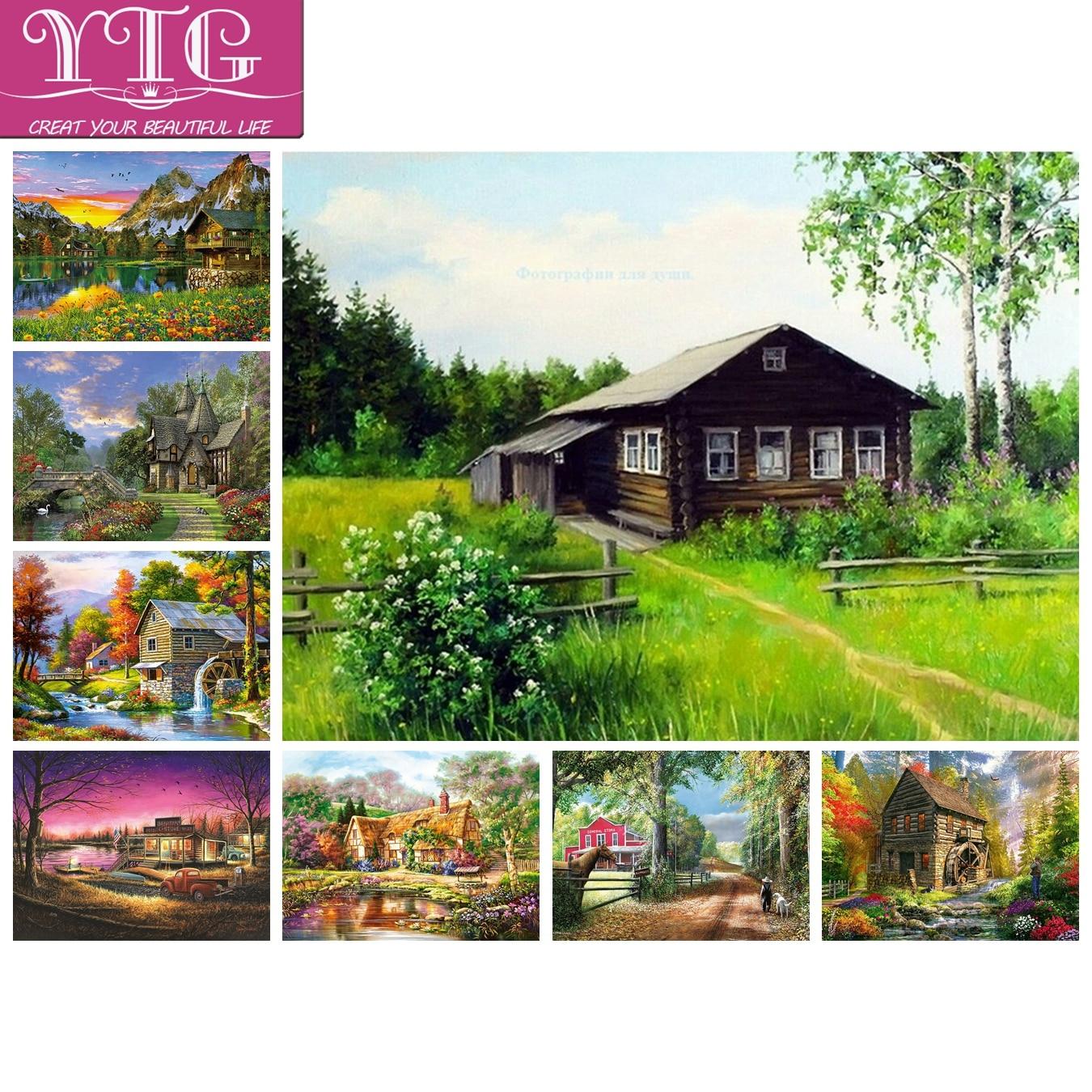 Full,Diamond Painting,Rural,Scenery,Diamond Embroidery,Cross Stitch,5D,Wall,Round,Rhinestone,Mosaic,Kits,DIY,Home Decor,Gift,Art