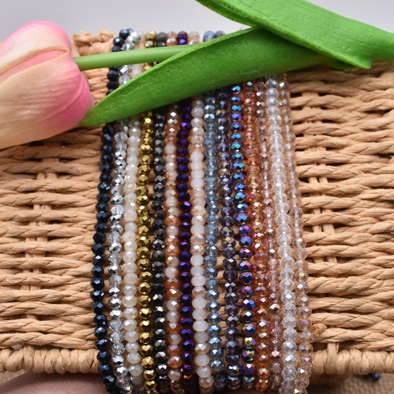 DIY Jewelry Multicolor Sapcer Faceted Crystal Glass Beads 4mm Roundell Loose Spacer Beads for DIY Handmade Jewelry Making in Beads from Jewelry Accessories