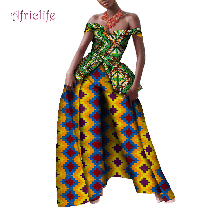New Off the Shoulder Top and Print Pants Sets Bazin Riche Women Shawl Pant 2 Pieces Suits African Style Women Clothing WY4137