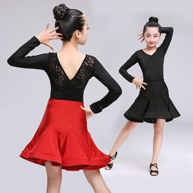 c26a52c66 Girls Latin Dance Dress Tops + Skirt Ballroom Dance Dress for Kids ...