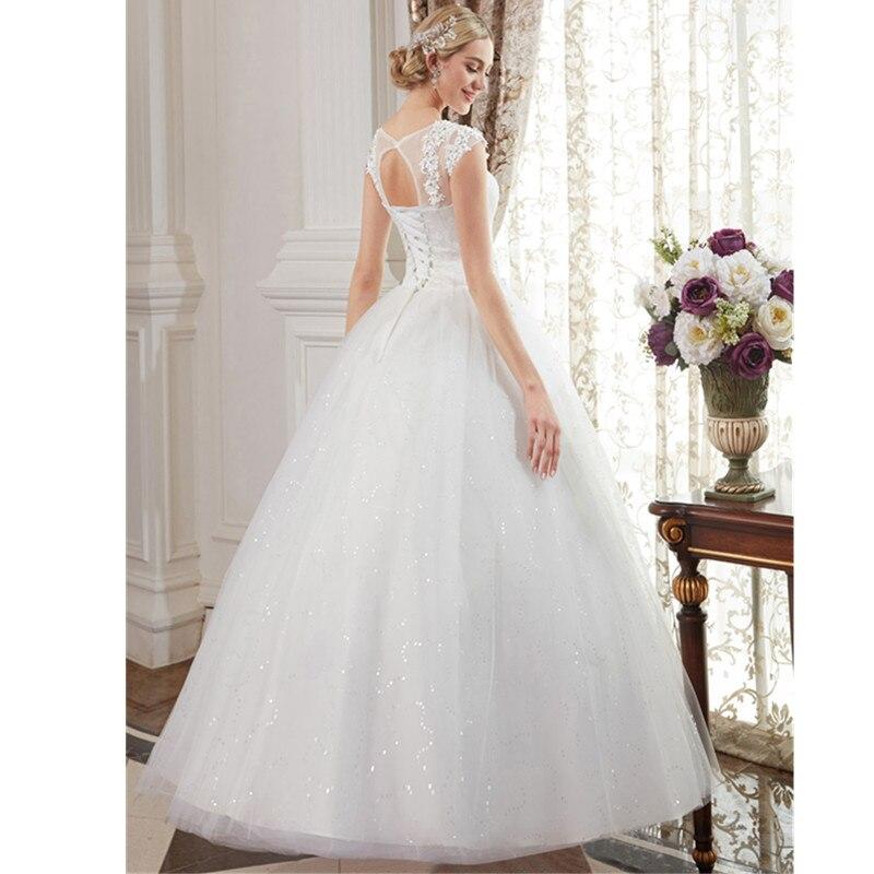 LAN TING невесты бальное платье Jewel шеи этаж Длина кружева над Тюль Пользовательские Свадебные платья с Бисер аппликации