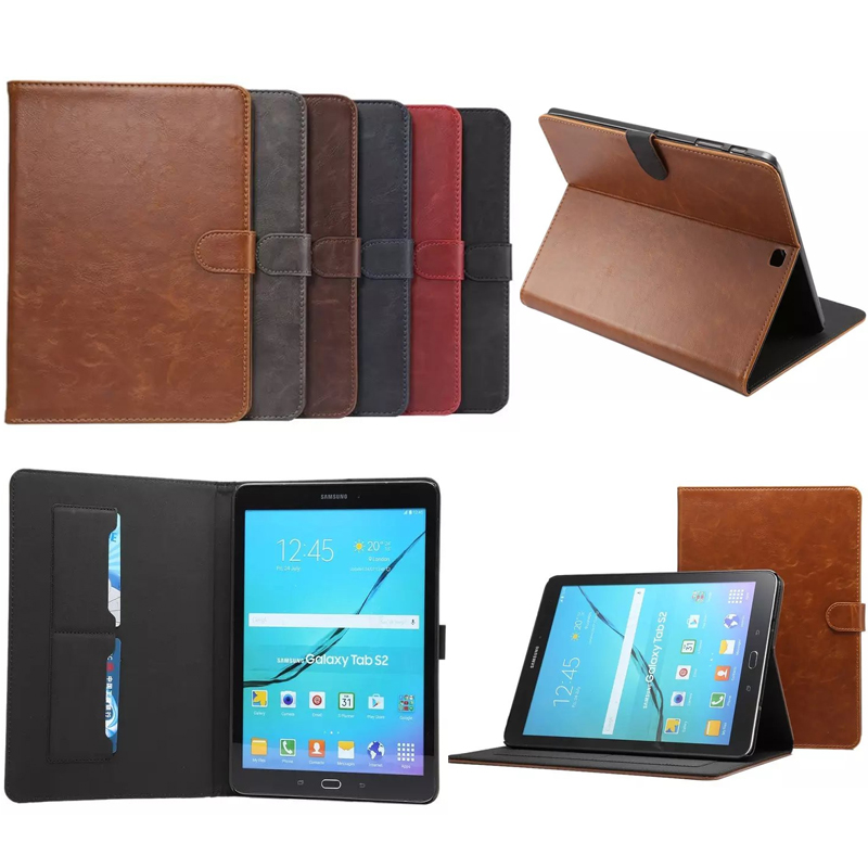 Folio Crazy Horse pattern PU Leather Case For Samsung Galaxy Tab S2 9.7'' T810 T815 T813 T819 Cover Tablet with Card Slot for samsung t530 tablet case folio crazy horse pattern pu leather stand book cover for samsung galaxy tab 4 10 1 inch t531 t535