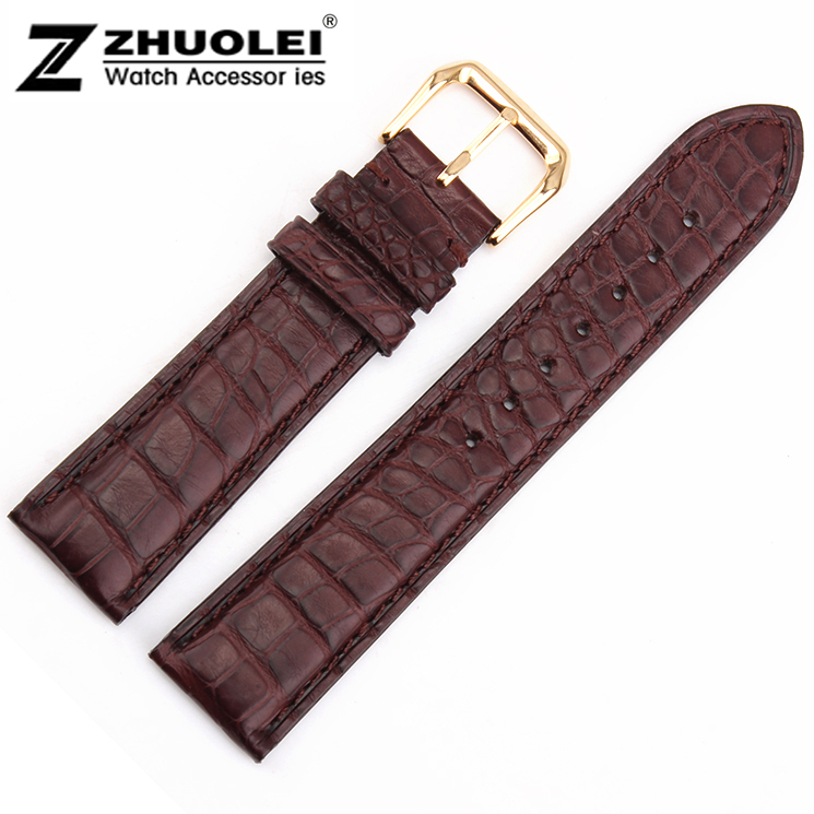 16mm 18mm 19mm 20mm 21mm 22mm Brown 100% Alligator Leather Watch Band Strap Bracelets Gold Pin Watch Clasp