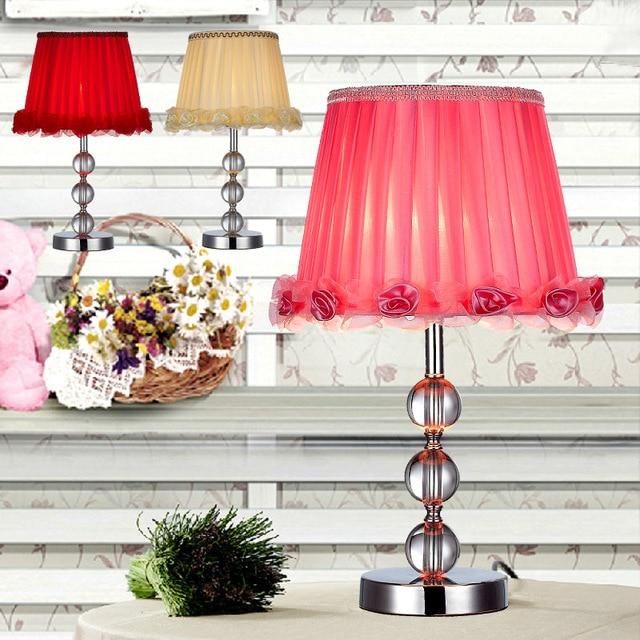 Modern High Grade Crystal Lamp Shade Romantic Roses Side Table Lamp Stylish  Bedroom Desk Lamp