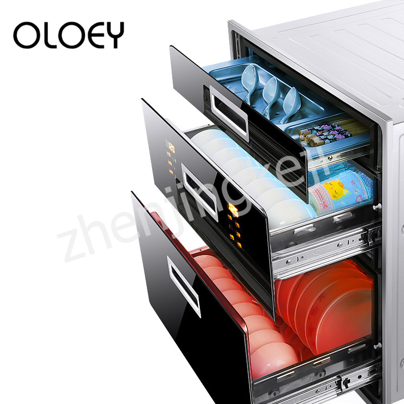 Embedded Disinfection Cabinet Three-tier High Temperature Disinfection Cupboard Big Space Frequency Conversion Smart Touch UV
