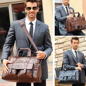 Image 2 - Men Leather Black Briefcase Business Handbag Messenger Bags Male Vintage Shoulder Bag Mens Large Laptop Travel Bags Hot XA177ZC
