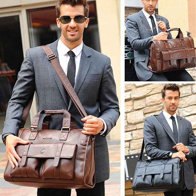 Men Leather Black Briefcase Business Vintage Shoulder Bag 2