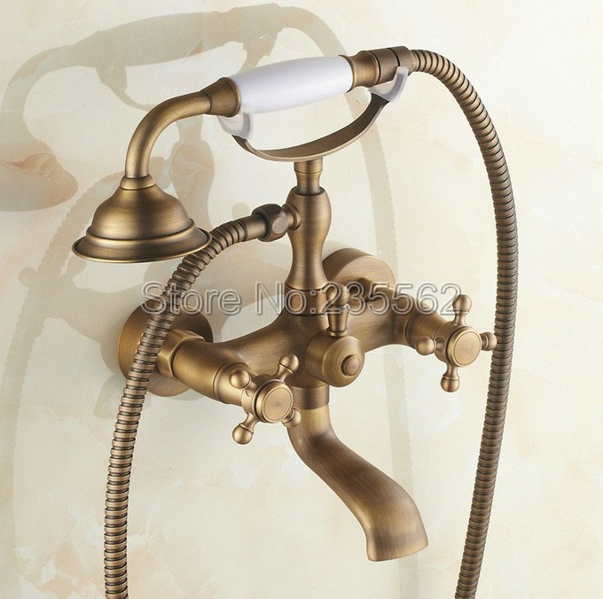 Wall Mounted Antique Brass Bathroom Shower Faucet Bathtub Faucet Set with Telephone Style Ceramic Handheld Shower Spray ltf150Wall Mounted Antique Brass Bathroom Shower Faucet Bathtub Faucet Set with Telephone Style Ceramic Handheld Shower Spray ltf150