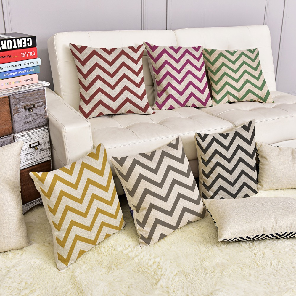 Shop home decor chevron stripes pillow from shop home decor - Geometry Colorful Wave Stripes Cushion 45x45cm European Simple Style Home Decor Sofa Seat Throw Pillows Pillowcase