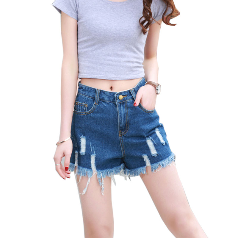 Short Jeans Time-limited Real Fashion Solid Button Fly Vintage Torn Fringed Pocket Shorts Women